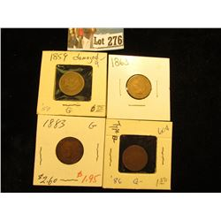 (4) Indian Cents 1859 damaged, 1863 G, 1883 G, 1886 ty 2 G