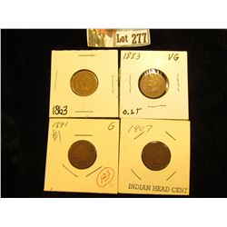 (4) Indian Cents G-VG 1863, 1883, 1891, 1907