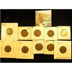 (10) Indian Cents G-VG 1863, 1865, 1881, 1882, 1883, 1886 Ty 2, 1891, 1896, 1904, 1906