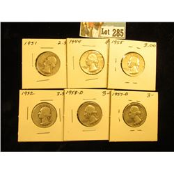 (6) Silver Washington Quarters G- VF: 1932, 1944, 1951, 1955, 1957-D, 1958-D