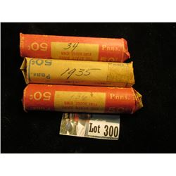 (3) rolls Avg Circ Lincoln Cents: 1934, 1935,1936