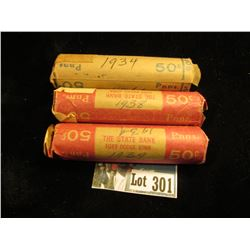 (3) rolls Avg Circ Lincoln Cents : 1934, 1938,1939