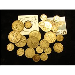 90% Silver Circulated: (5) Walking Liberty Halves, & (3) Barber .25's;(11) Mercury Dimes,  ($4.35 90