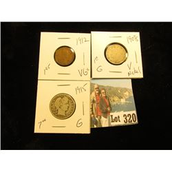 1915 Barber .25 G, 1908 V Nickel G, & 1912 Lincoln Cent VG+.CDN Grey Sheet bid $9.35