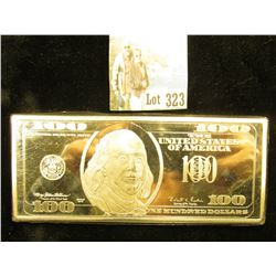 1 Troy LB Silver Plated Copper Bar - 100 Dollar Bill design