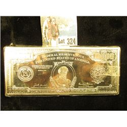 1 Troy LB Silver Plated Copper Bar - 100,000 Dollar bill design