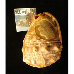 Original antique carved Conch Shell with Lithuanian Young Lady with special Head dress.