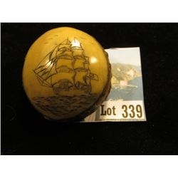 Carved Palm Nut, Very exquisite Sailing Ship on Ocean.