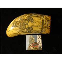 "Faux Sperm Whale Engraved Ivory of ""Rachel Pringle of Barbadoes. Ms. Pringle (1753-1791) had a very"