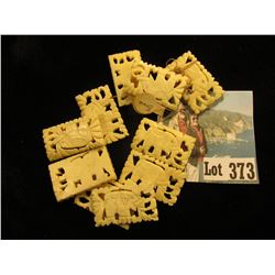 Group of Elephant Carved Ivory Square Beads.