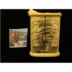 Engraved Ivory Cigarette Box with a very unusual locking device. Scrimshaw engraved Sailing Ships on