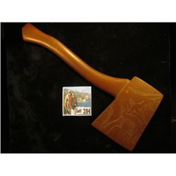 Catlenite Red Pipestone Axe with handle, engraved on one side with Indian, Bird & owl, and on the ot