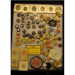 "12' x 16"" Glassed frame containing more than 100 Bicycle Celluloid Pins, which 'Doc' valued at $16,0"