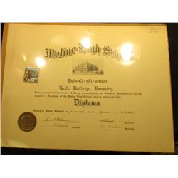 "Huge 16"" x 21"" Diploma from Moline High School dated June 14th, 1929. Embossed Gold seal lower left."