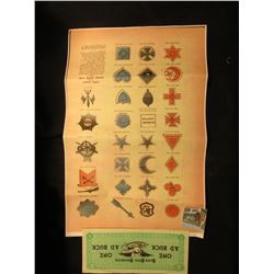 "Poster ""Corps Badges of the United States Army - 1865""; $10, $20, $50, & $500 Ramkota Inns South Dak"