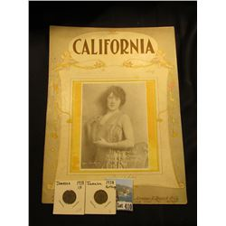 "Piano Sheet Music folder dated 1922 for ""California"", Jerome H. Remick & Co.; & a nice pair of 1938"