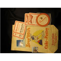 "Advertising Sack ""Snow White Delicious Cake and Pastry Flour Master Baker Flour Mills Vancouver, B.C"