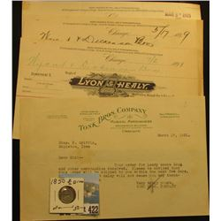 "(4) 1899-1931 Invoices of Letter Heads ""Lyon & Healy"" & Tonk Bros. Company""; & an1850 P Seated Liber"