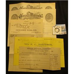 (5) Invoices on Letter Heads dating 1904-1940; & 1857 P Liberty Head Half Dime, Fine.