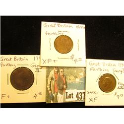 1791 F+, 1875H EF+, & 1935 EF Keydate Farthings from Great Britain.