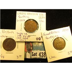 1821 AVF/VG, 1886 Uncirculated, & 1934  Uncirculated Great Britain Farthings.