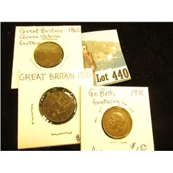 1860 VF+, 1900 VF, & 1931 AU Great Britain Farthings.