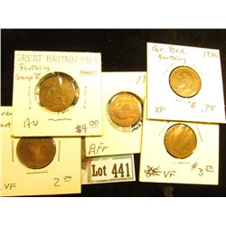 1862 aVF, 1905 EF, 1906 VF, 1913 AU, & 1930 EF Great Britain Farthings.