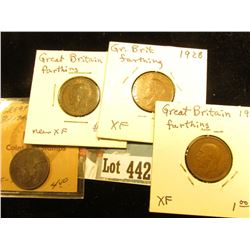 1865 VF-EF, 1917 aEF, 1928 EF, & 29 EF Great Britain Farthings.