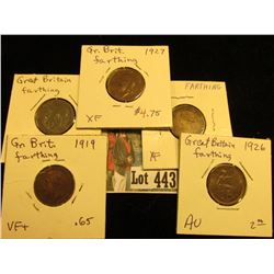 1868 EF, 1918 EF, 1919 VF, 26 AU, & 27 EF Great Britain Farthings.