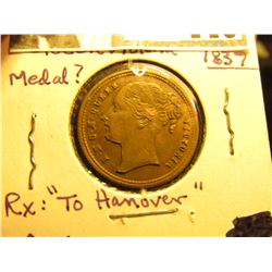 "1837 Queen Victoria ""To Hannover"" Copper, Brown AU."
