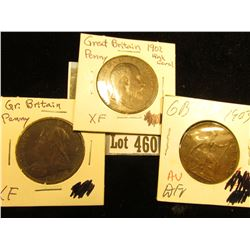 1900, 02, & 03 Great Britain Large Pennies, EF-AU.
