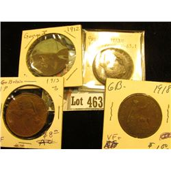 1911 EF, 12 VG, 13 EF, & 18 VF+ Great Britain Large Pennies.