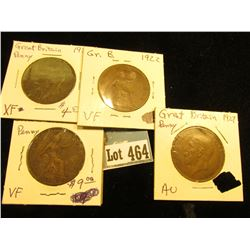 1919H VF, 20 EF, 22 VF, & 27 AU Great Britain Large Pennies.