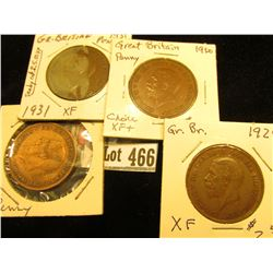 1929 EF, 30 EF, 31 EF, & 32 Fine Great Britain Large Pennies.