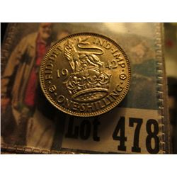 1942 Great Britain Shilling of King George VI, English Crest, Uncirculated.