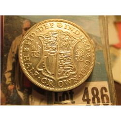1930 Great Britain Silver Half Crown, EF.