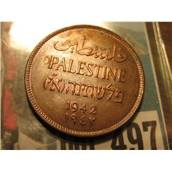 1942 Palestine Two Mils, Red-brown Unc.