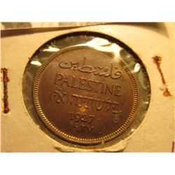 1927 Palestine Two Mils, Red-brown Unc.