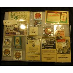 "12"" x 16"" Glass-faced Frame containing an interesting assortment of memorabilia for ""FLOUR"", mostly"