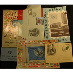 1959, 60, 61, & 62 Souvenir Folder of United Nations Postage Stamps; 1982 Postal Stationery; 1957-58