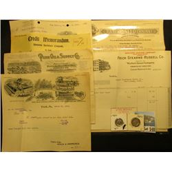 "1910 Invoice ""Penn Oil & Supply Co…Rock Island, Ill.""; 1904 Credit Memorandum ""Simmons Hardware Comp"