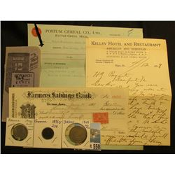 """Monarch Red Brand Fence"" Advertising note book; Certificate of Deposit Farmers Savings Bank Victor,"