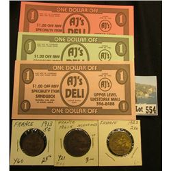 1913 France Five Centimes, Y60, Brown Unc; 1861K Ten Centimes, Y21, VF; 1925 Two Francs, BU; & Set o