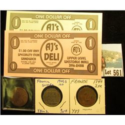"1793 France Copper, C122,  Good; 1944 Two Francs, Y89, VF; 1946B Ten Francs, Y86a2; & Set of 3 ""$1 A"