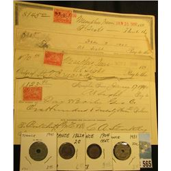 "(5) ""Pritchett Mc Cormick"" (think Mc Cormick Reaper) Checks dating 1899-1900, all with Two Cent Docu"