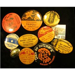 "Interesting Collection of Pin-backs, includes: ""Fort Dodge Homecoming ""89""""; ""1966 Wartburg Homecomi"