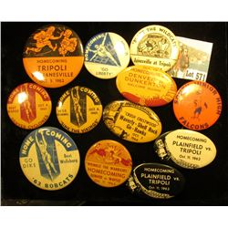 "Interesting Collection of Pin-backs, includes: """"Wrinkle the Warriors"" Homecoming Denver vs. Wapsie"