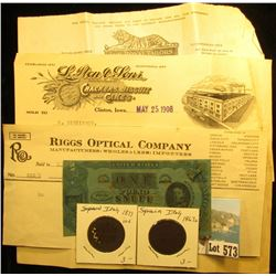 "1923 Invoice ""Riggs Optical Company…Cedar Rapids, Ia.""; ""The Royal Tailors Chicago-New York"" (tiger"