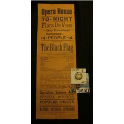"Flier ""Opera House To-Night Flora De Voss and Her Excellent Company of 14-People-14 Presenting The B"