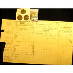 "1884 Muscatine County Tax Certificate for the ""Tax of 1883"", totally original; 1886, 1891 & 1897 Ind"